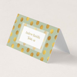 Glam Wedding Table Number   Gold Dots Sage Place Card