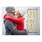 Glam Whimsy | Glitter-Look Photo Save the Date Postcard