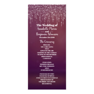 Glam White Fairy Light Purple pink Wedding Program