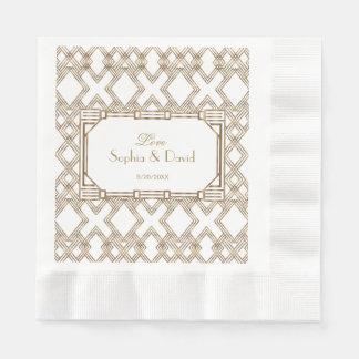 Glam White Gold Great Gatsby Wedding Napkin