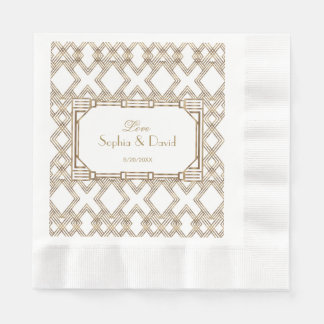 Glam White Gold Great Gatsby Wedding Paper Napkin