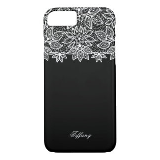 Glam White Lace on Black iPhone 7 Case