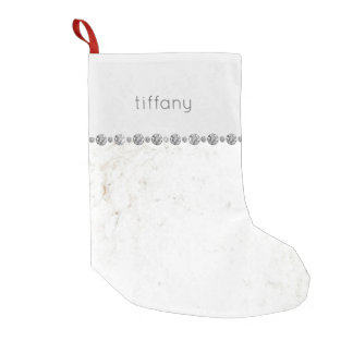 Glam White Marble and Diamond Look on Soft Gray Small Christmas Stocking