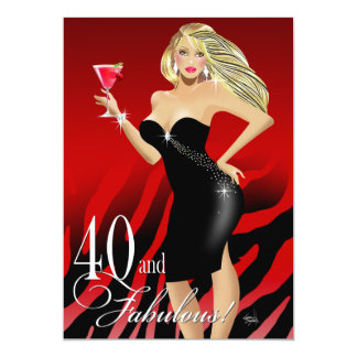 Glam Zebra Bombshell 40th Birthday | red Card