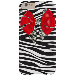 Glam Zebra Print and Red Bow Barely There iPhone 6 Plus Case