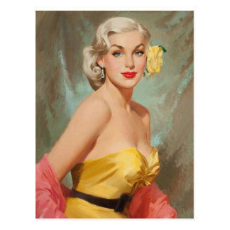 Glamor blond PinUp Girl Postcard