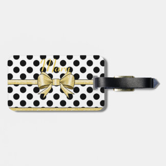Glamor Gold Bow and Black Polka Dots Luggage Tag