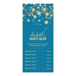 Glamor Gold Dots Decor - Retro Peacock Blue Color Rack Card