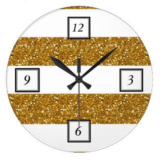 Glamor White Stripes with Gold Glitter Printed Large Clock