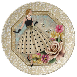 Glamorous 50's Fashion, Decorative Porcelain Plate