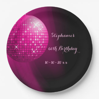 Glamorous 60th Birthday Hot Pink Party Disco Ball Paper Plate