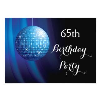 "Glamorous 65th Birthday Blue Party Disco Ball 5"" X 7"" Invitation Card"