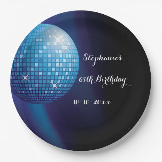 Glamorous 65th Birthday Blue Party Disco Ball 9 Inch Paper Plate