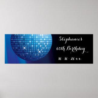 Glamorous 65th Birthday Blue Party Disco Ball Poster