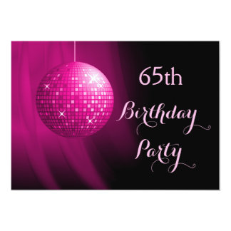 "Glamorous 65th Birthday Hot Pink Party Disco Ball 5"" X 7"" Invitation Card"