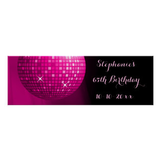 Glamorous 65th Birthday Hot Pink Party Disco Ball Poster