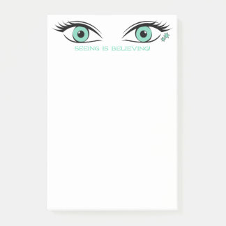 Glamorous Aquamarine Eyes Template Text at Top Post-it Notes