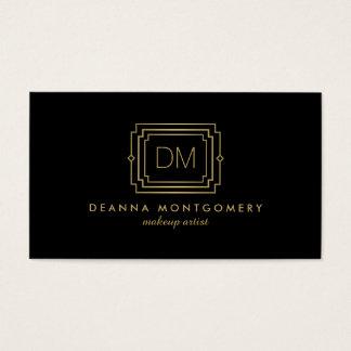 Glamorous Art Deco Black/Gold Beauty Makeup Artist Business Card