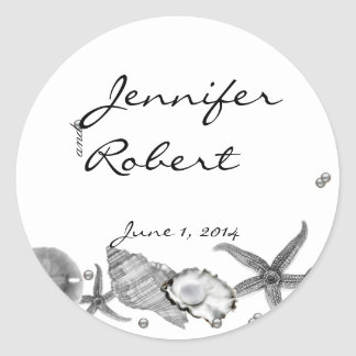 Glamorous Beach in Silver Envelope Seal Classic Round Sticker