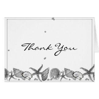 Glamorous Beach in Silver Thank You Card