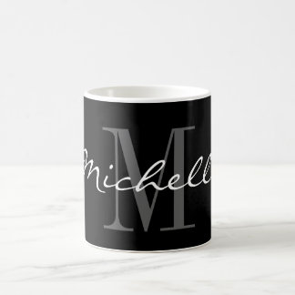 Glamorous black and white name monogram coffee mug