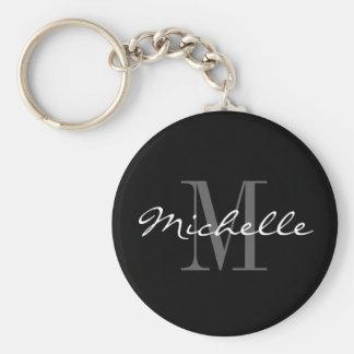Glamorous black and white name monogram keychain