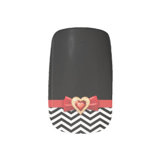 Glamorous black white chevron pattern minx nail art