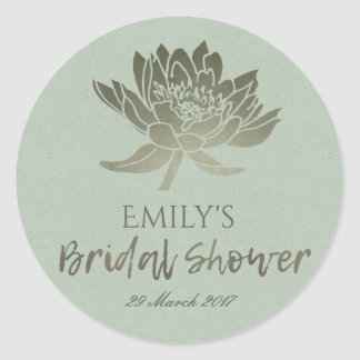 GLAMOROUS BLUE SILVER LOTUS FLORAL BRIDAL SHOWER CLASSIC ROUND STICKER