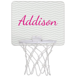 Glamorous Bold Script Name with Gray Chevron Mini Basketball Hoop