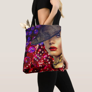 Glamorous Casino Lady Luck With Dice Background Tote Bag