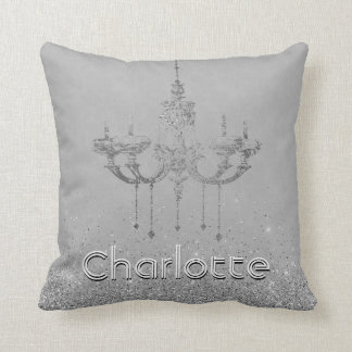 Glamorous Chandelier Gray Silver Glitter Name Throw Pillow
