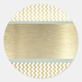 Glamorous chevron gold classic round sticker