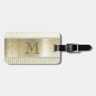 Glamorous chevron gold monogram luggage tag