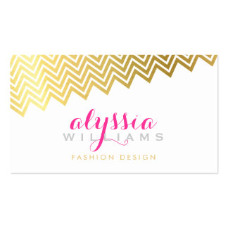 GLAMOROUS chevron pattern stylish shiny gold foil Business Card