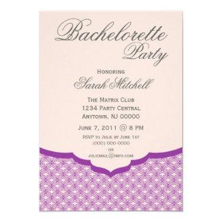 """Glamorous Chic Bachelorette Party Invite, Purple 5"""" X 7"""" Invitation Card"""
