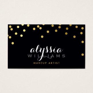 GLAMOROUS confetti shiny gold foil bold black Business Card
