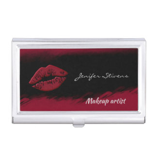 Glamorous fancy red lips watercolor business card holder