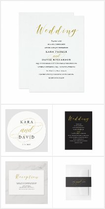 Glamorous Faux Gold Calligraphy Wedding