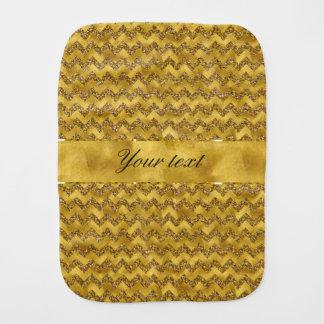 Glamorous Faux Gold Glitter Chevrons Baby Burp Cloth