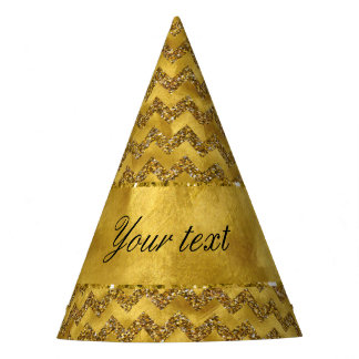 Glamorous Faux Gold Glitter Chevrons Party Hat