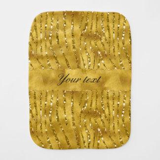 Glamorous Faux Gold Glitter Zebra Stripes Burp Cloth