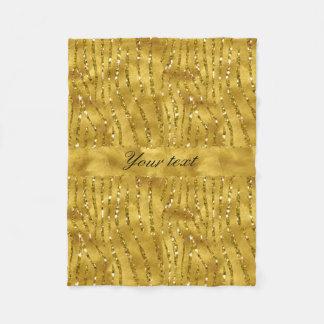 Glamorous Faux Gold Glitter Zebra Stripes Fleece Blanket