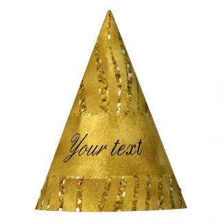 Glamorous Faux Gold Glitter Zebra Stripes Party Hat
