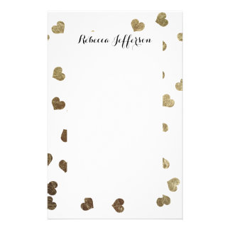 Glamorous Faux Gold Hearts Pattern Stationery Design