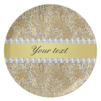 Glamorous Faux Gold Sequins and Diamonds Dinner Plates