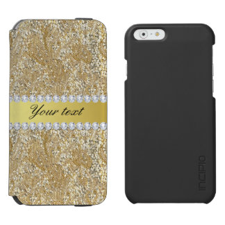 Glamorous Faux Gold Sequins and Diamonds Incipio Watson™ iPhone 6 Wallet Case