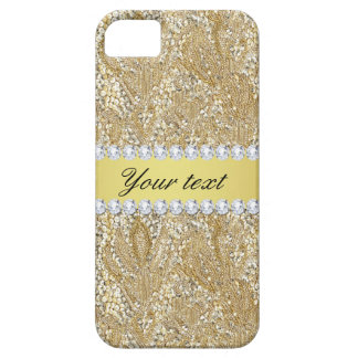 Glamorous Faux Gold Sequins and Diamonds iPhone 5 Cases
