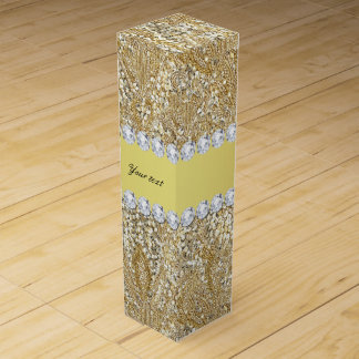 Glamorous Faux Gold Sequins and Diamonds Wine Bottle Boxes
