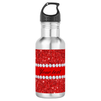 Glamorous Faux Red Sequins and Diamonds 532 Ml Water Bottle