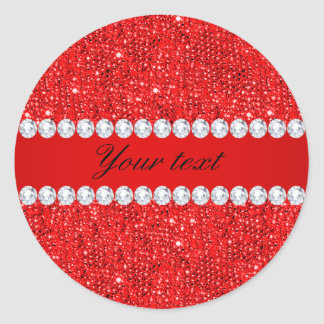 Glamorous Faux Red Sequins and Diamonds Classic Round Sticker